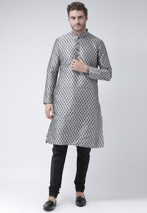 Printed Dupion Silk Kurta in Light Grey