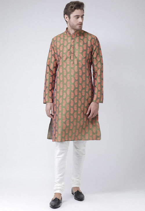 Printed Dupion Silk Kurta in Olive Green