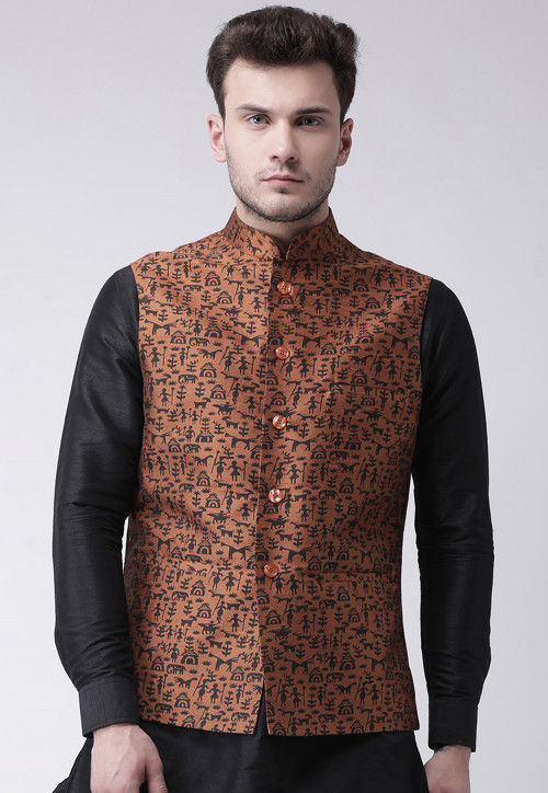 Printed Dupion Silk Nehru Jacket in Brown