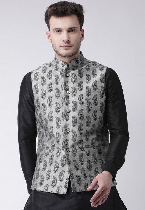 Printed Dupion Silk Nehru Jacket in Light Grey
