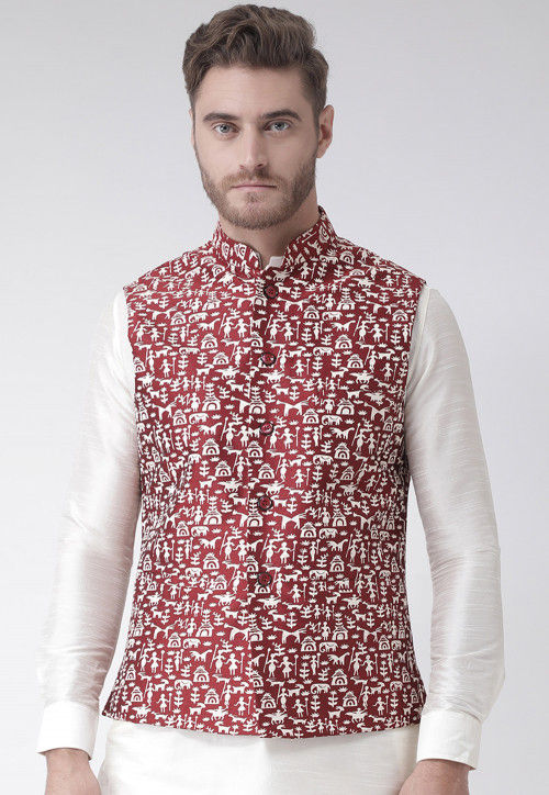 Printed Dupion Silk Nehru Jacket in Maroon