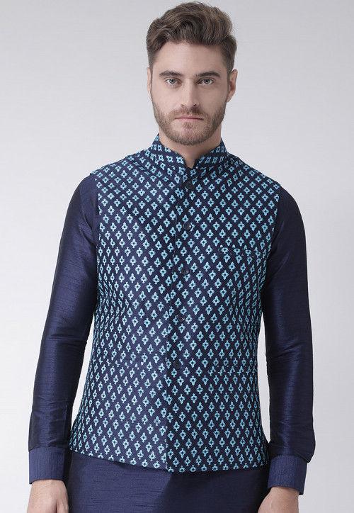 Printed Dupion Silk Nehru Jacket in Navy Blue