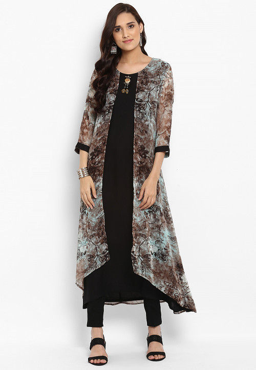 Printed Faux Georgette Layered Kurta in Black and Multicolor