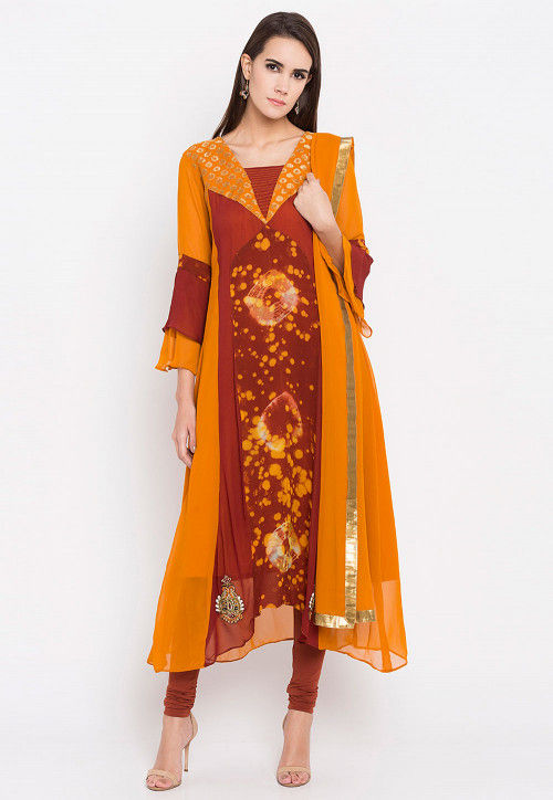 Printed Georgette A Line Suit in Mustard and Brown