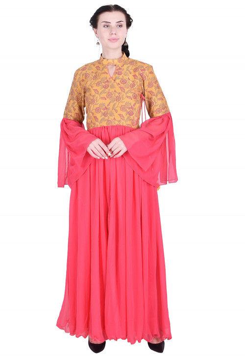Printed Georgette Abaya Style Kurta in Pink and Light Orange
