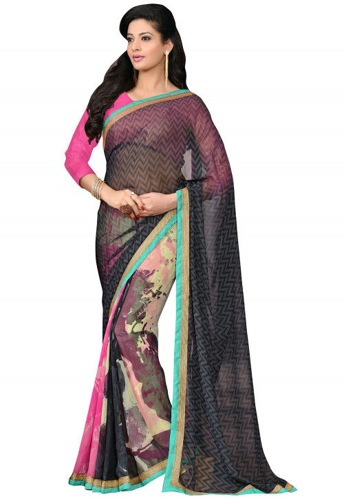 Printed Georgette Saree in Black and Multicolor
