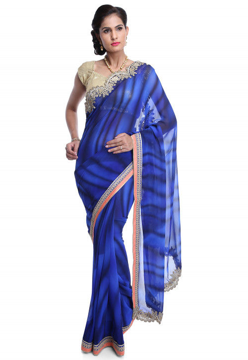 Printed Georgette Saree in Blue