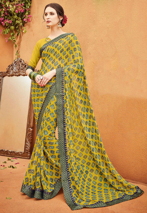 Printed Georgette Saree in Mustard