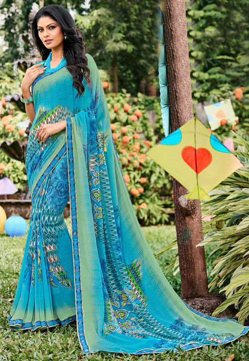 Printed Georgette Saree in Shaded Blue