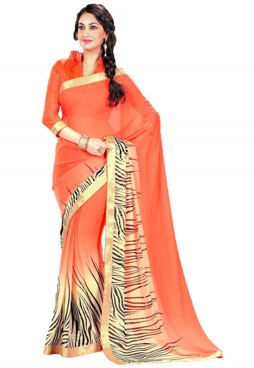Printed Georgette Saree in Shaded Orange and Cream