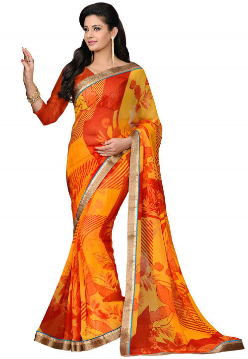 Printed Georgette Saree in Yellow and Orange