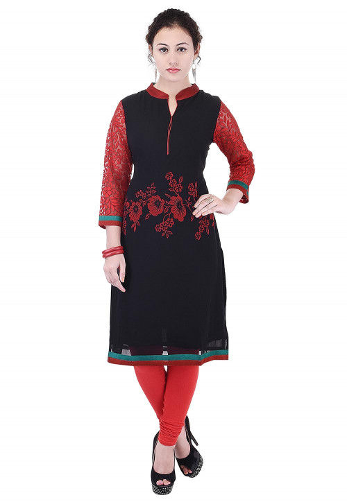 Printed Georgette Straight Kurta in Black and Red
