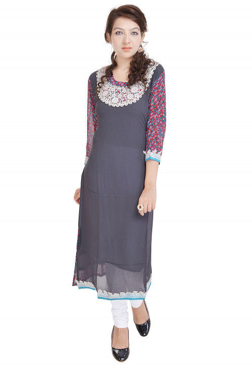 Printed Georgette Straight Kurta in Grey and Pink