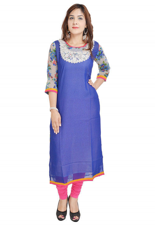Printed Georgette Straight Kurta in Indigo Blue and Off White