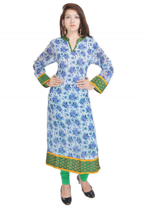 Printed Georgette Straight Kurta in Off White and Blue