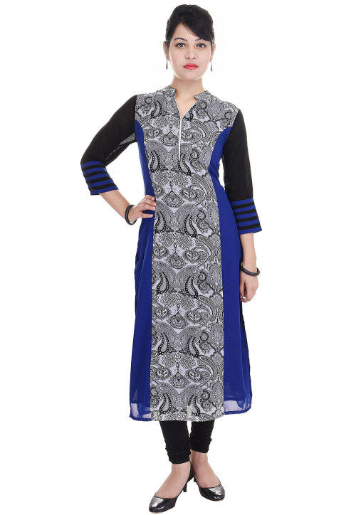 Printed Georgette Straight Kurta in White and Royal Blue