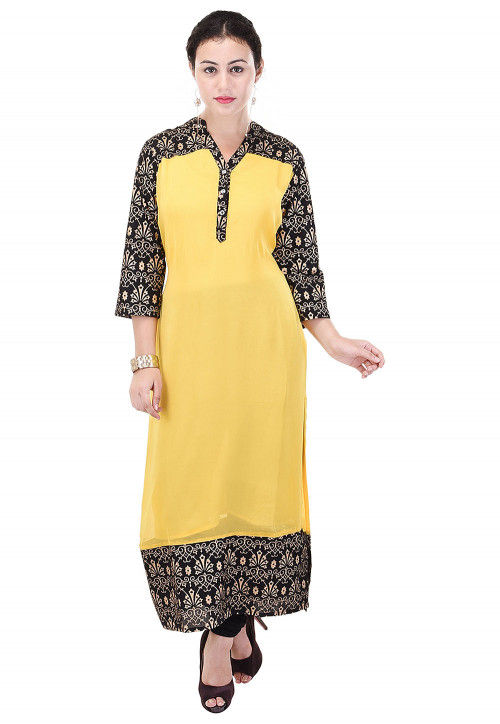 Printed Georgette Straight Kurta in Yellow