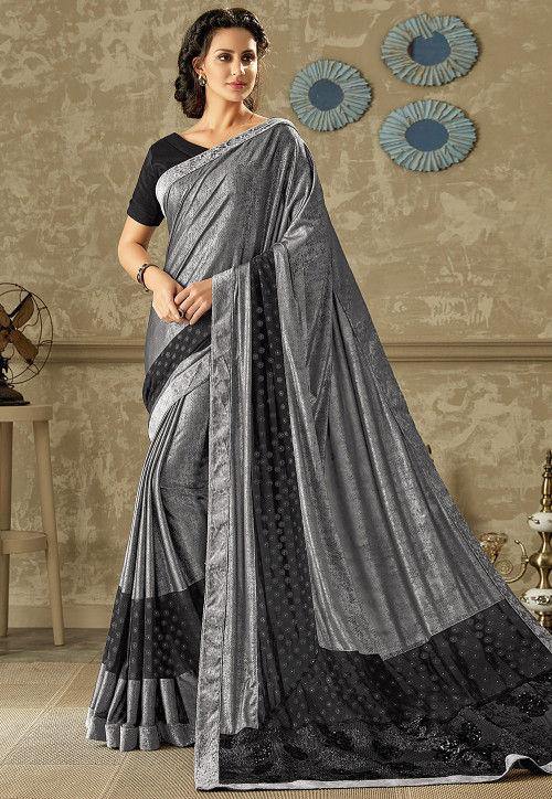 Printed Lycra Shimmer Saree in Grey