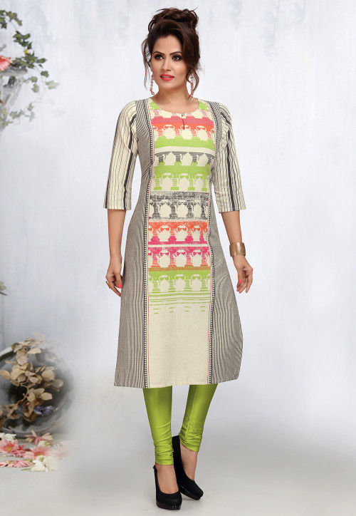 Printed Poly Cotton Straight Kurta in Multicolor