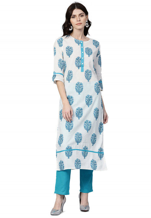 Printed Pure Cotton Straight Kurta with Pant in White