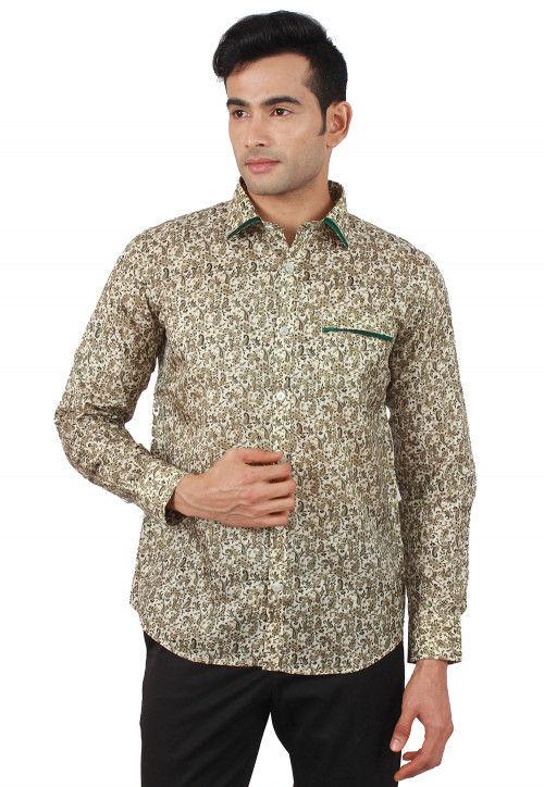 Printed Pure Silk Shirt in Multicolor