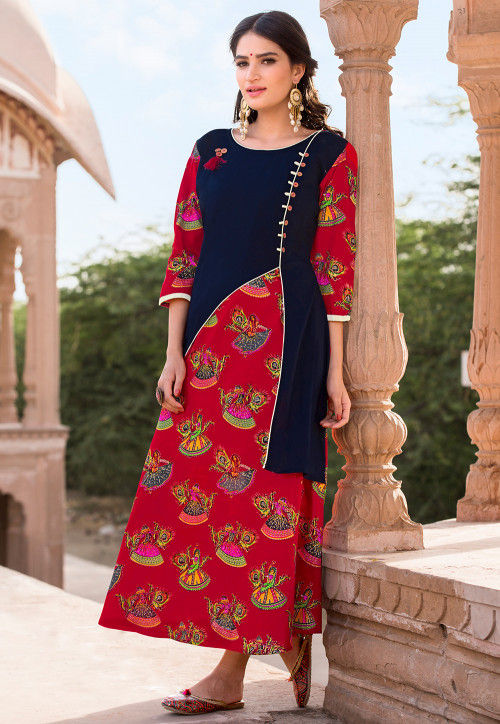 Printed Rayon A Line Kurta in Red and Navy Blue