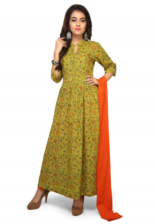 Printed Rayon A Line Suit in Light Green