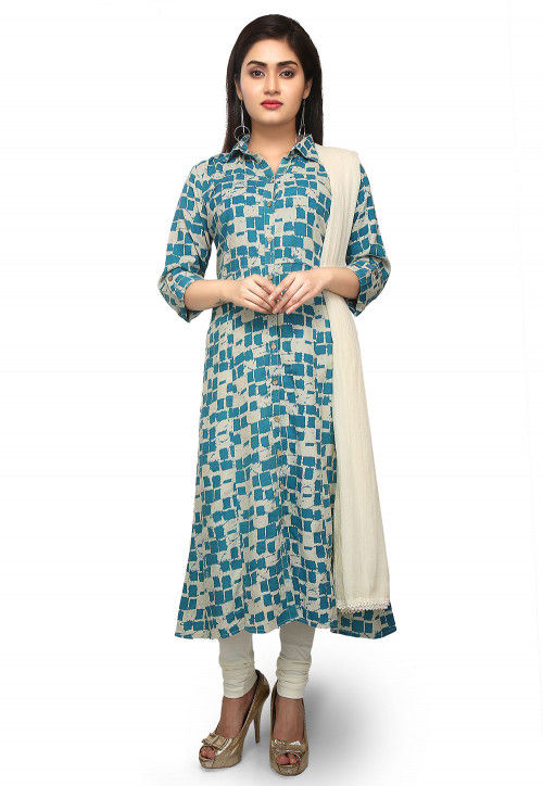 Printed Rayon A Line Suit in Off White and Teal Blue