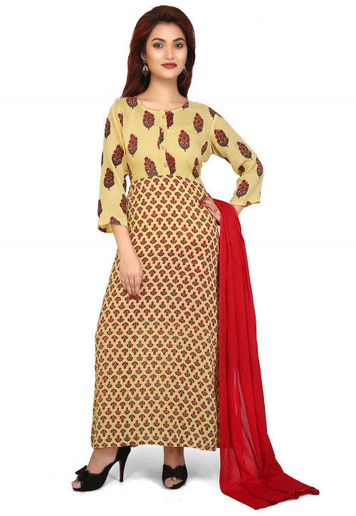 Printed Rayon Abaya Style Suit in Light Yellow and Red