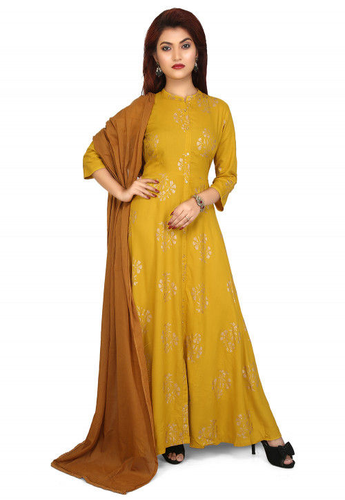Printed Rayon Abaya Style Suit in Mustard