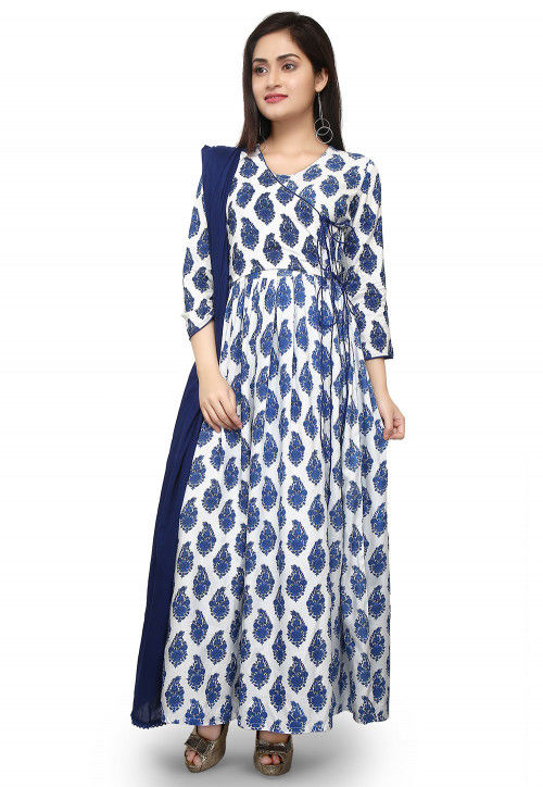 Printed Rayon Abaya Style Suit in White