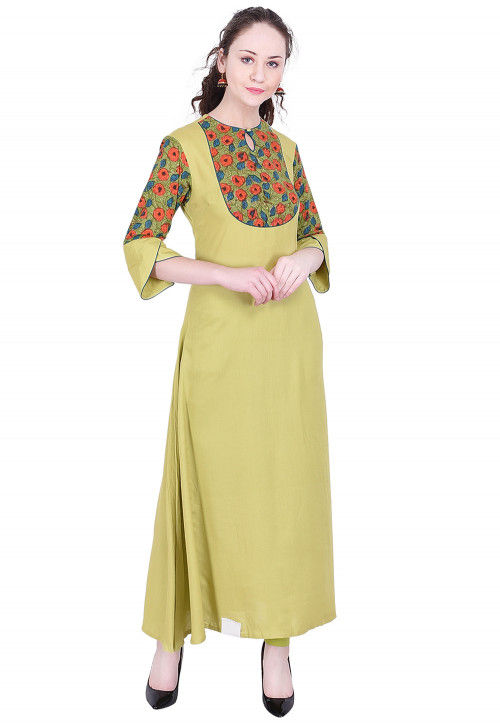 Printed Rayon A-Line Kurta in Light Olive Green