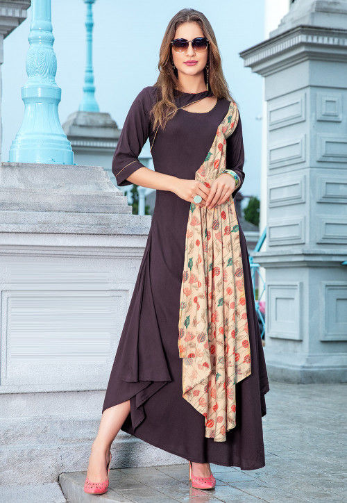 Printed Rayon Asymmetric Kurta in Dark Fawn and Beige