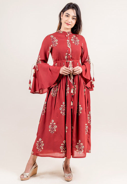 Printed Rayon Cotton Dress in Maroon