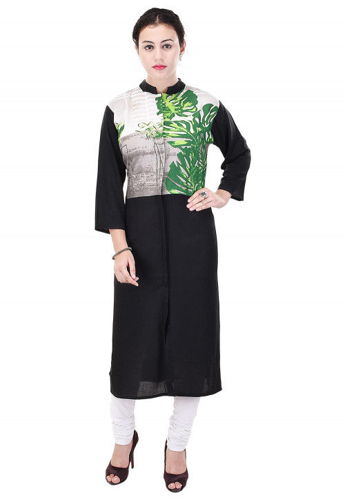 Printed Rayon Cotton Straight Kurta in Black and Off White