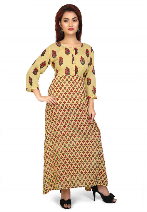 Printed Rayon Long Kurta in Light Yellow and Red