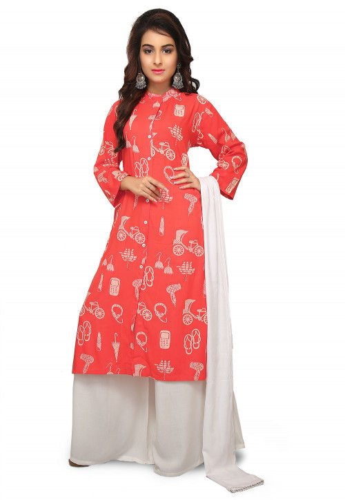 Printed Rayon Pakistani Suit in Coral Pink