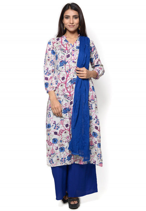 Printed Rayon Pakistani Suit in White and Multicolor