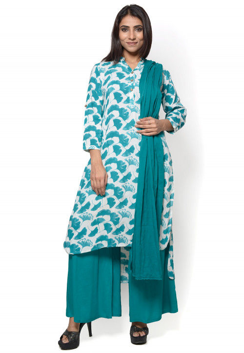 Printed Rayon Pakistani Suit in White and Teal Blue