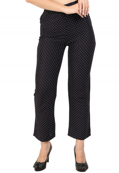 Printed Rayon Pant in Black