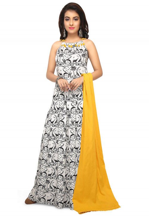 Printed Rayon Slub Abaya Style Suit in Off White