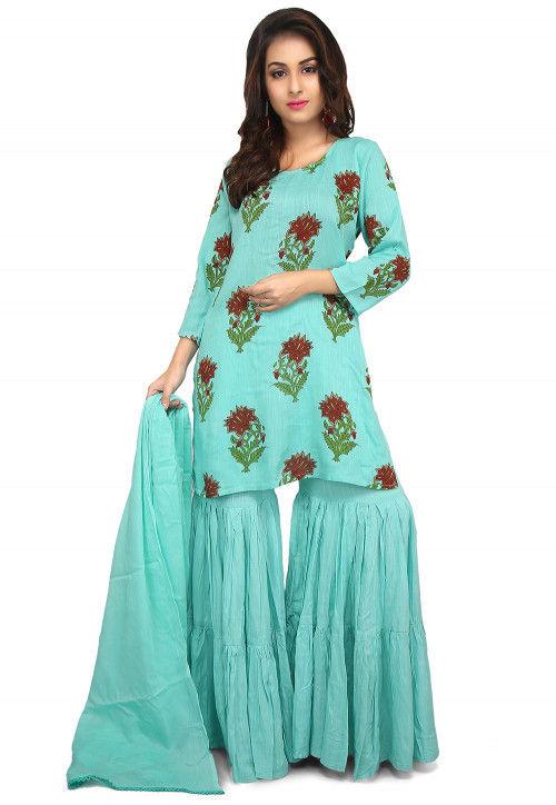 Printed Rayon Slub Pakistani Suit in Turquoise