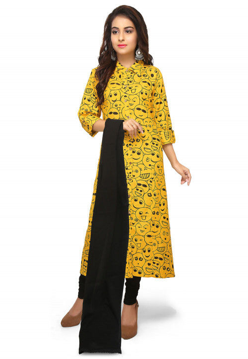 Printed Rayon Slub Straight Suit in Yellow
