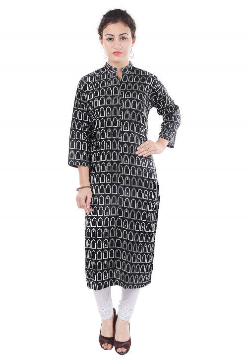 Printed Rayon Straight Kurta in Black