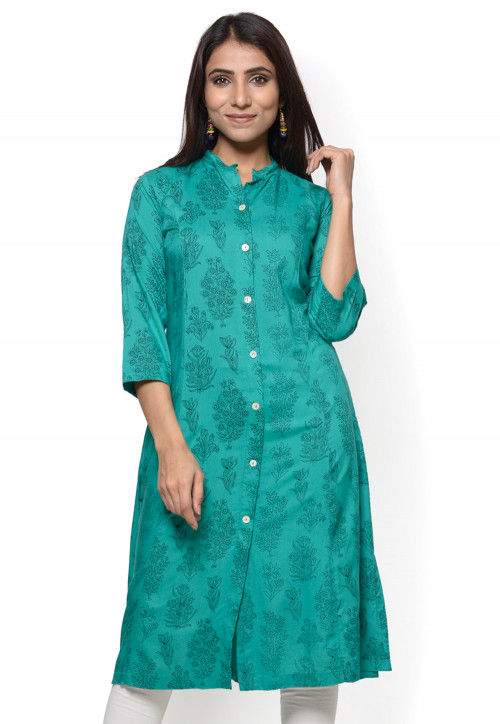 Printed Rayon Straight Kurta in Teal Green