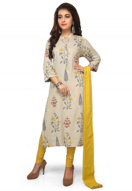 Printed Rayon Straight Suit in Off White