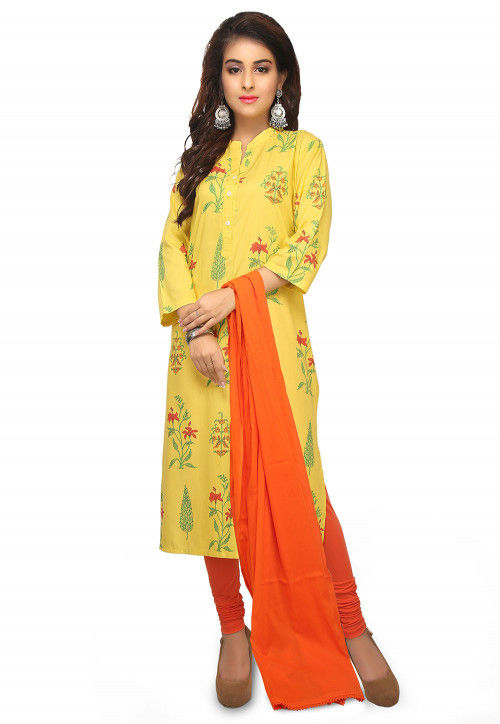 Printed Rayon Straight Suit in Yellow