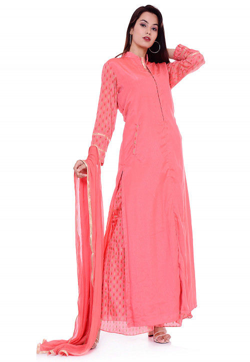 Printed Sleeve Crepe Pakistani Suit in Coral Pink