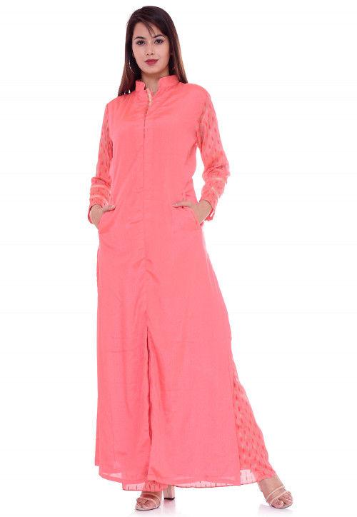 Printed Sleeve Crepe Straight Kurta in Coral Pink