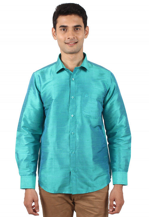 Pure Dupion Silk Shirt in Turquoise